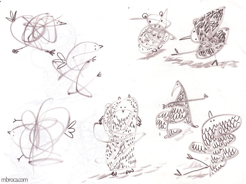 des animaux réalisés à partir de gribouuillages.