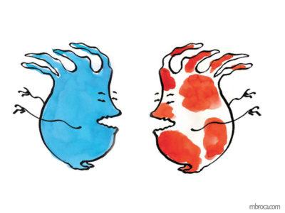 un monstre bleu et un rouge et blanc