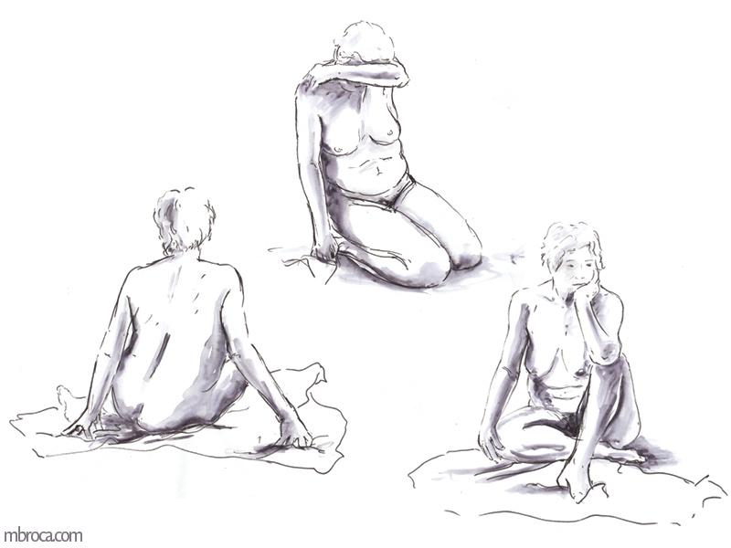 la meme femme nue dans trois positions, visage caché, de dos et pensive.