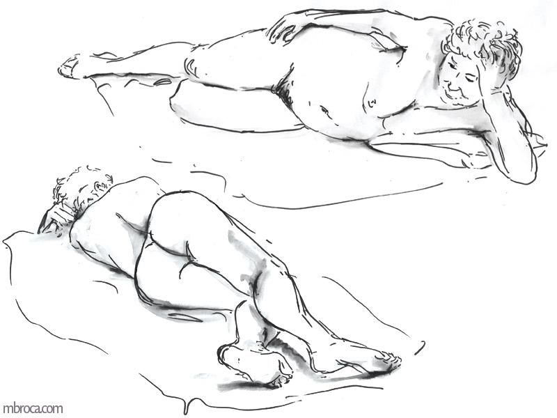 une femme nue allongée, de face et de dos