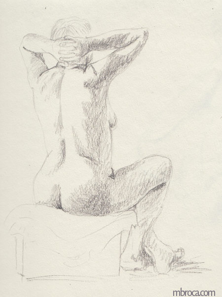 une femme nue de dos les bras levés.