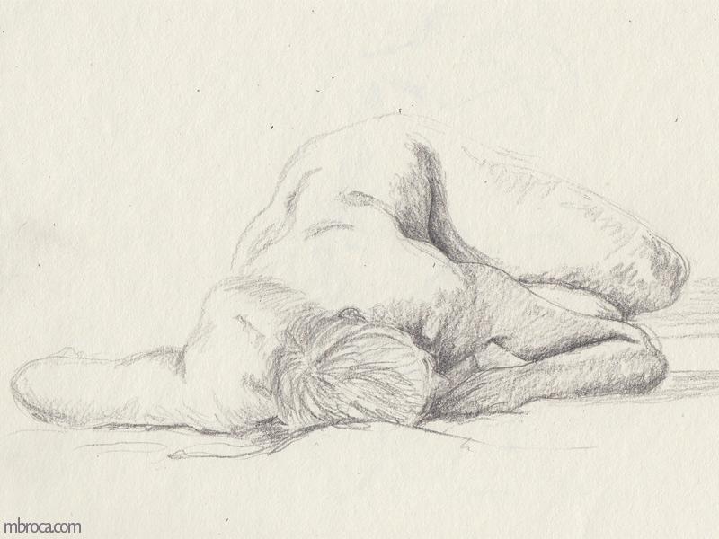 uen femme nue alongée de face.