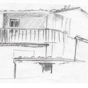 Croquis, maison et balcon, crayon graphite