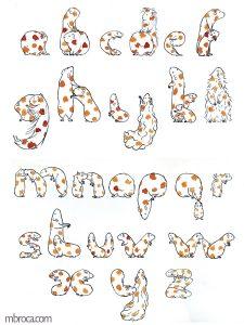 œuvres Alphabet cobaye, encres. Des cobayes forment les lettres de l'alphabet.