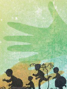 Publications. Quatre enfants jouent dans l'herbe. Deux mains dans le ciel étoilé. Dépaysés, Alain Boudet, M.Broca, Soc et Foc éditions
