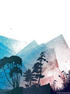 Des arbres et des herbes en noir, un ciel bleu rouge. Dépaysés, Alain Boudet, M.Broca, Soc et Foc éditions