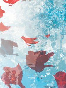 Publications. Dépaysés, Alain Boudet, M.Broca, Soc et Foc éditions. Des oiseaux s'envolent. Deux enfants se promènent avec une canne à pêche. Un arbre bleu.