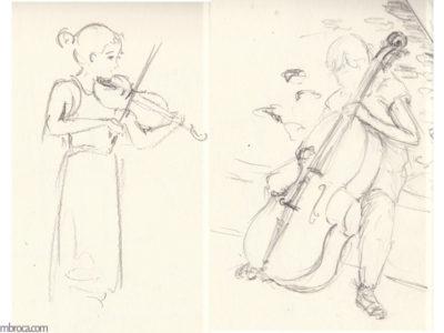 Violoniste et violoncelliste, crayon graphite. À gauche une violoniste jouant debout. À droite une violloncelliste assise avant de jouer.