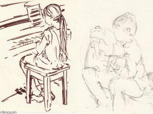À gauche une pianiste joue de dos. À droite, un jeune guitariste joue tourné vers la gauche.