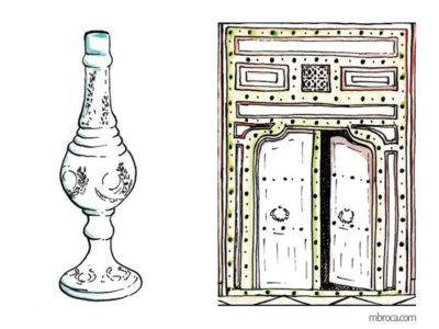 Publications, La belle Génoise, M.T. Buhagiar, M.Broca.Aspersoir à parfum et porte de harem, encres.