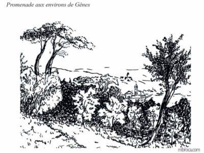 Publications, Paysage des alentours de Gênes, église en arrière plan.La belle Génoise, M.T. Buhagiar, M.Broca