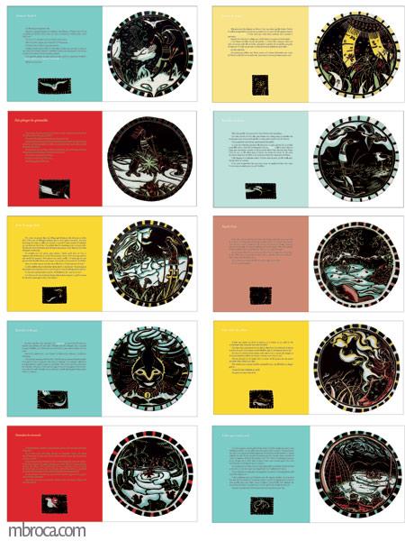 sgraffites : les dix pages du livre Guêtres de pollen et autres noms indiens, l'écriture à gauche, l'illustration à droite.