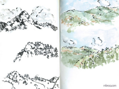 œuvres dessin trois montagnes à l'encre de chine et deux à l'aquarelle.