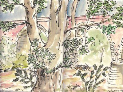 œuvres Arbre et un aqueduc à l'arière plan.
