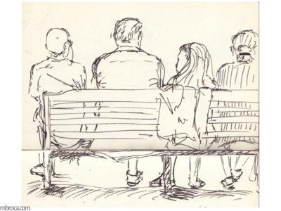 quatre personnes assis sur un banc, de dos.