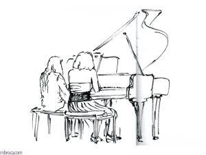 Concerts, deux jeunnes femmes jouent un quatre mains au piano.