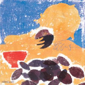 7 poèmes pour une semaine, la silhouette d'un enfant qui mange une prune. Au premier plan des prunes et un bol.