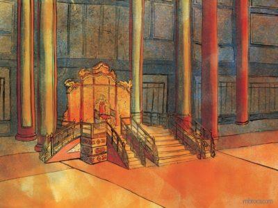 œuvres une grande salle vide avec un trône au milieu.
