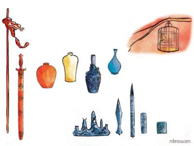œuvres des armes, vases, cage et pinceaux de caligraphie