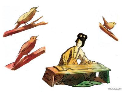 œuvres trois rossignols qui chantent et une musicienne