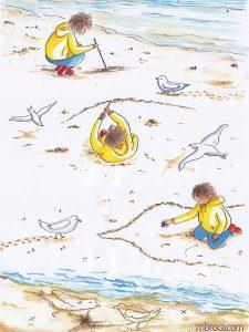 œuvres Un enfant dessine dans le sable. Des mouettes regardent.