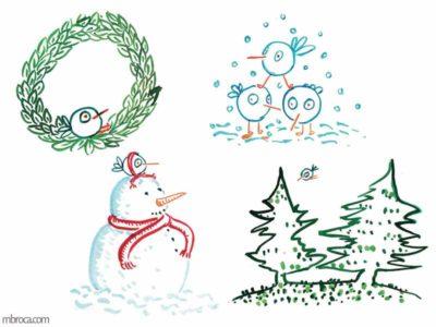 des oiseaux dans la neige, deux sapins, un bonhomme de neige, une couronne de feuilles.