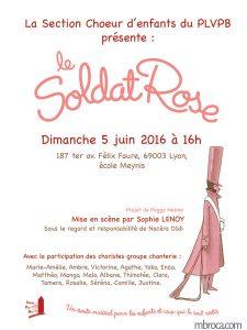 infographie, affiche pour un concert de chants de la comédie musicale le soldat rose.