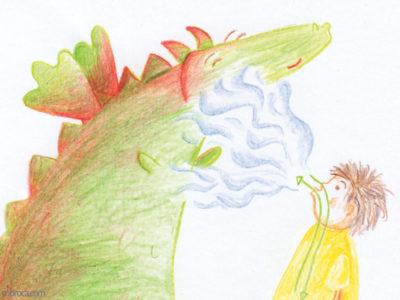 Publications, Rouzig, février 2018 un garçon souffle tranquillement sur un dragon qui sourit.