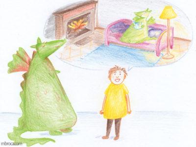 Publications, Rouzig, février 2018 un garçon raconte à un dragon une scène paisible. Dans celle-ci le dragon lit calmement au coin du feu.