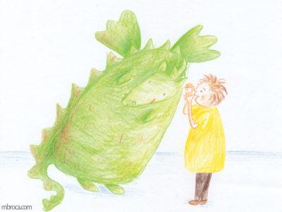 Publications, Rouzig, février 2018, un enfant chuchotte à l'oreile d'un dragon qui sourit.