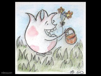 Céramique,un monstre souriant tient un panier dans une main mais aussi des fleurs dans l'autre. Il est au milieu de l'herbe.