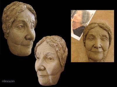 Portrait d'une femme en céramique réalisée lors de formations en céramique.
