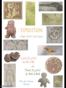 Projet pédagogique, affiche d'une exposition de fin de séjour d'une colonie d'arts plastiques.