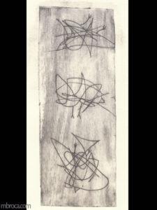Trois oiseaux réalisés à partir de gribouillages. Le sketchnoting transformé en art.