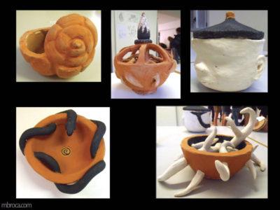 Cours, escargot, sculpture, serpent à partir de bols