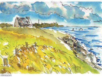œuvres une maison en pierres, piriac en arrière plan et la mer