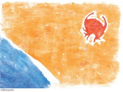 œuvres un crabe fuit la mer sur la plage.