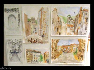 Cours, des vues de rues d'un village à l'aquarelle