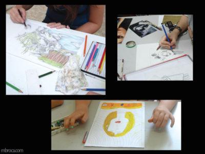 Cours, trois dessins différents entrain d'être dessinés