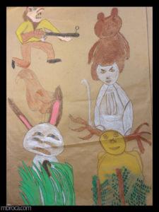 Cours, totems, un chasseur, sur un aigle, sur un lapin dans l'herbe. Un ours sur un loup, sur un cerf, dans des fougères.