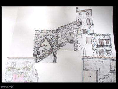 Cours, des dessins de maisons en moir et blanc, positionnées les uns à coté des autres pour former un village