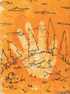 œuvres des sapins, un oiseau stylisé, une main en négatif et une femme nue en transparence.