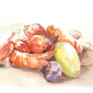 œuvres une courge, des oignons, des carottes