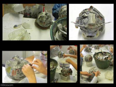 Cours, plusieurs étapes de réalisation de masques en papier machés.