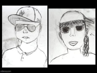 Cours, un portrait d'un garçon avec une casquette et des lunettes de soleil. Un portrait de fille avec des lunettes de soleil.
