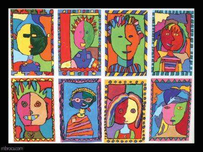 Cours, huit portraits très colorés cernés de noir