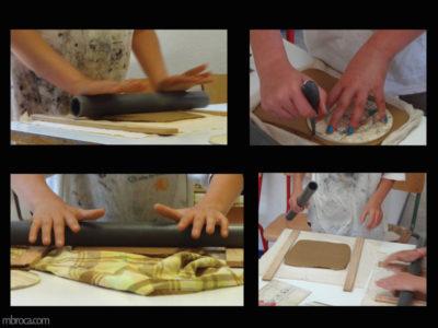 Projet pédagogique, quatre étapes de la réalisation d'une plaque. étirement à l'aide d'un rouleau, vérification de l'épaisseur et découpe.