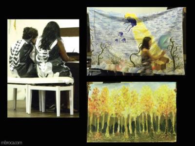 Cours, deux personnes jouent du piano. Ils portent des sac poubelles avec des squelettes peints dessus. Une scène de forêt à l'automne. Une fille passe devant une scène de fond marin.