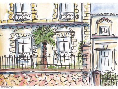 œuvres un immeuble bourgeois de narbonne, grille en fer mur en pierre. palmier.