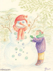 œuvres une enfant fabrique un bonhomme de neige.